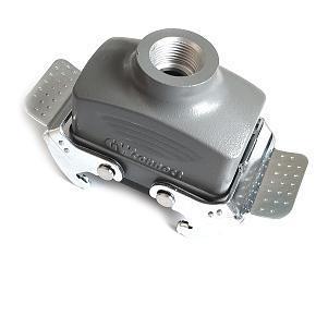 kryt zásuvky 10B na kabel, kov, dva zámky, přímý vývod se závitem, těsnění