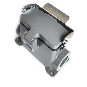 kryt zásuvky 16B vysoké provedení, sokl, montáž na povrch, s víkem, kov, jeden zámek