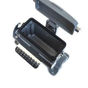 kryt zásuvky 16B sokl, montáž na povrch, s víkem, kov, jeden zámek