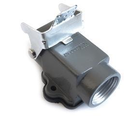 kryt kovový, pravoúhlý  boční vývod se závitem, se zajišťovací pákou 3A 21x21